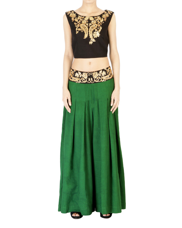 Bottle green embroidered palazzo pants 2