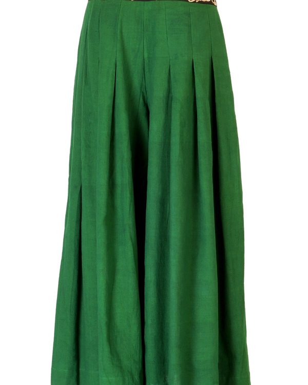 Bottle green embroidered palazzo pants 3