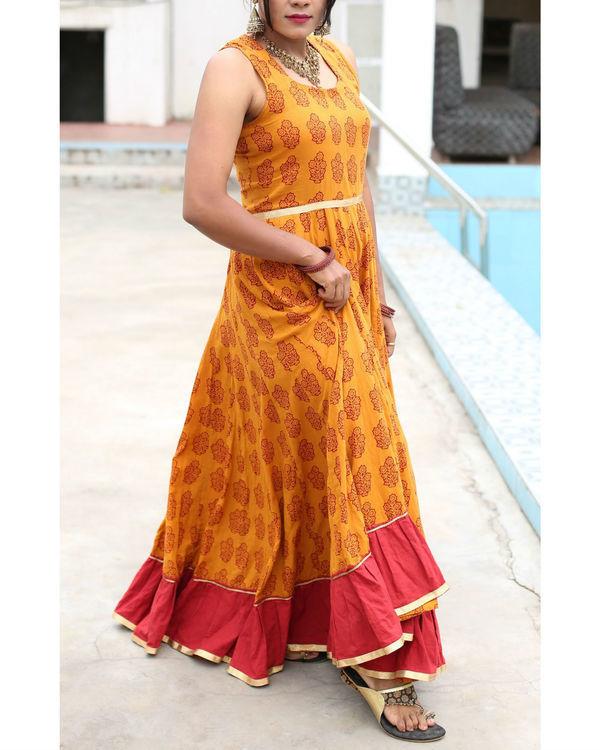 Haldi chandan  flared bagh print dress 1