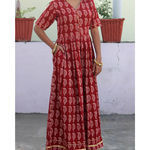 Thumb mehrooni bagh print gathererd dress  5