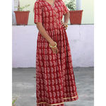 Thumb mehrooni bagh print gathererd dress  7