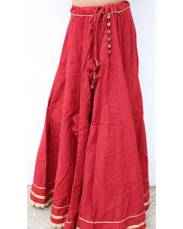 Mehrooni flare solid skirt 1