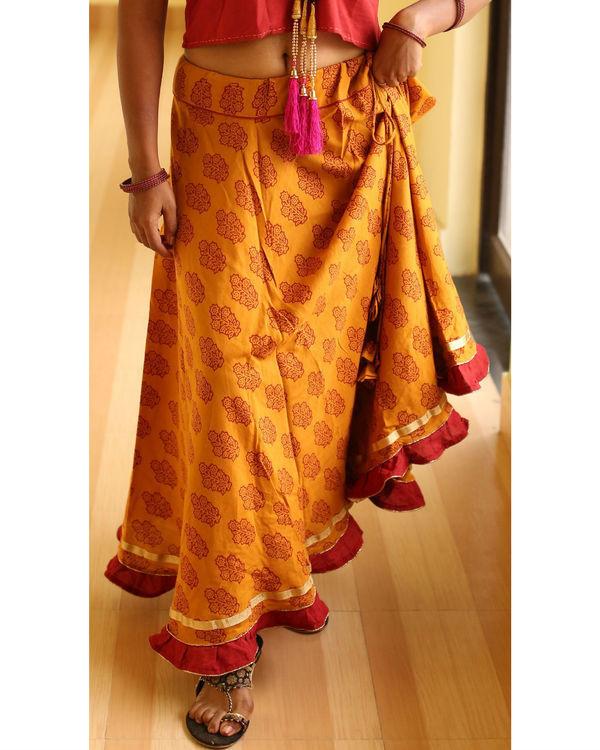 Haldi chandan  flared bagh print skirt 1