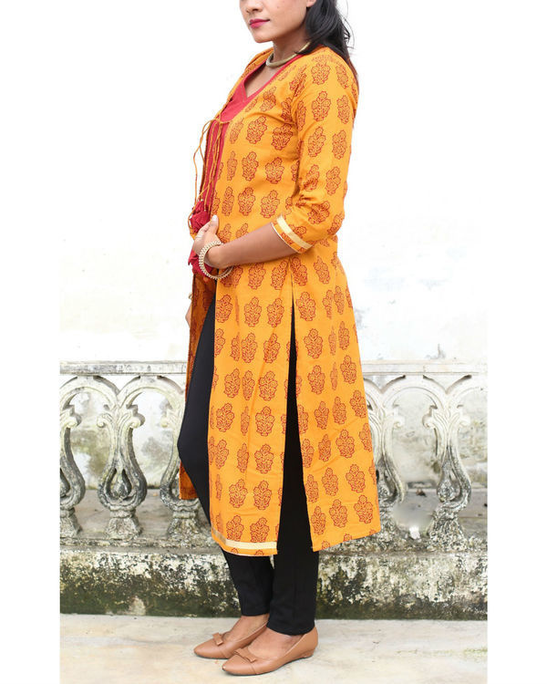 Haldi chandan bagh print shrug with crop top 2