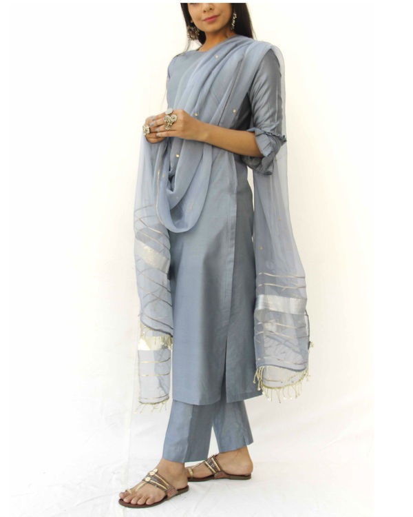 Grey straight kurta set 3