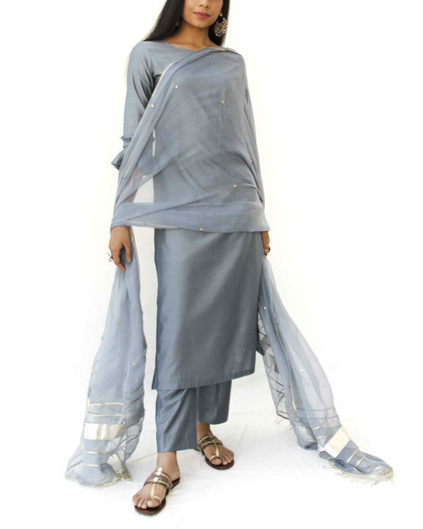 Grey straight kurta set 2