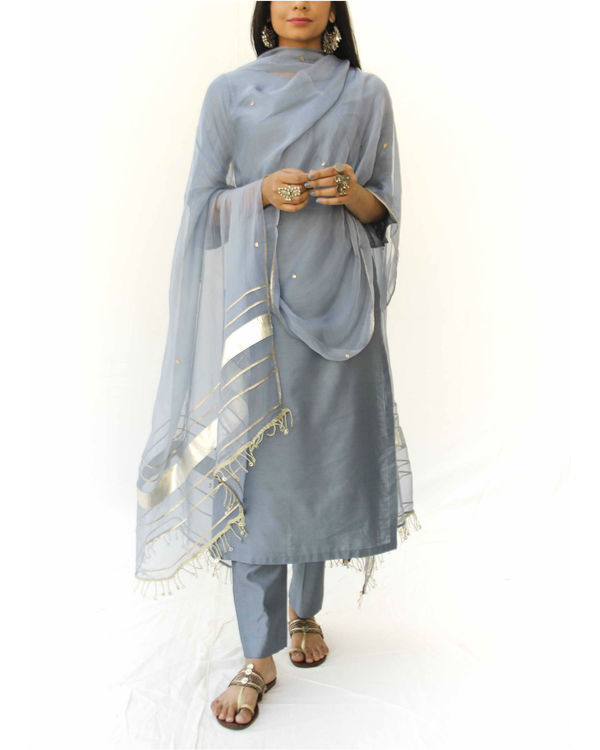 Grey straight kurta set 1