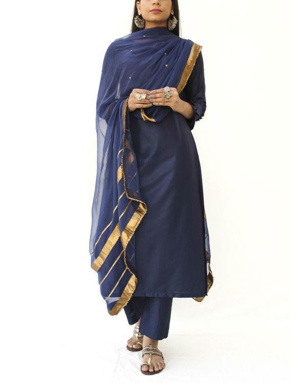Midnight blue straight kurta set 2