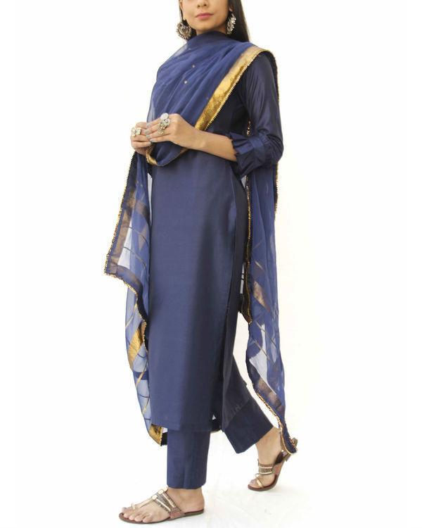 Midnight blue straight kurta set 1