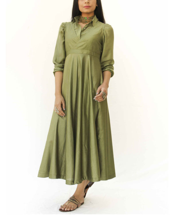 Olive green magical walk dress 3
