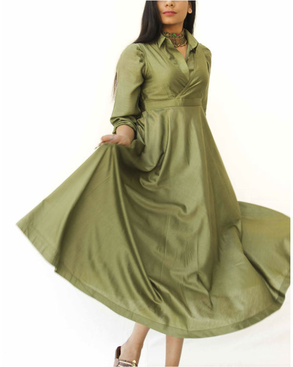 Olive green magical walk dress 2