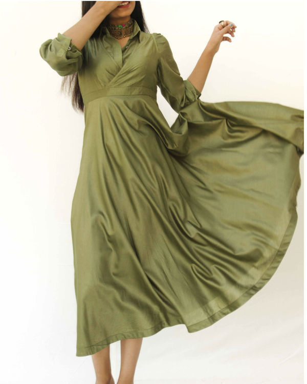 Olive green magical walk dress 1