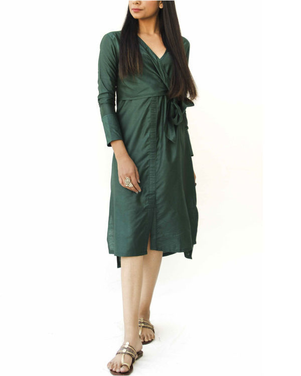 Emerald green side knot wrap  dress 1