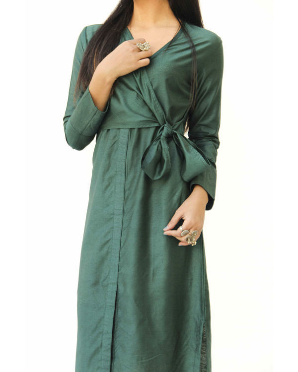 Emerald green side knot wrap  dress 2