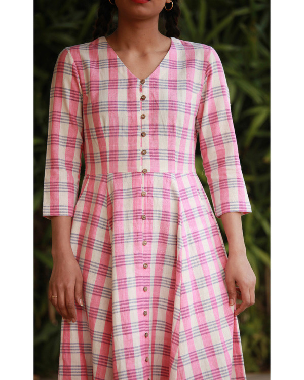 Quirky pink checks dress 3
