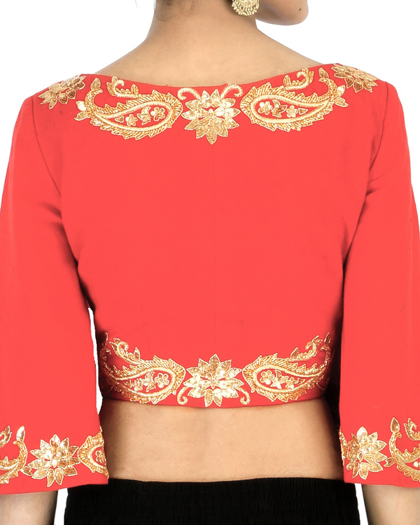 Red bell sleeves embroidered crop top 1