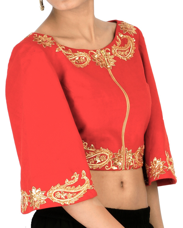 Red bell sleeves embroidered crop top 2