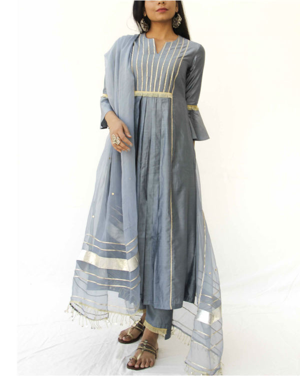 Grey chanderi trio set 1