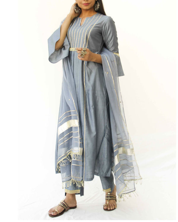 Grey chanderi trio set 3