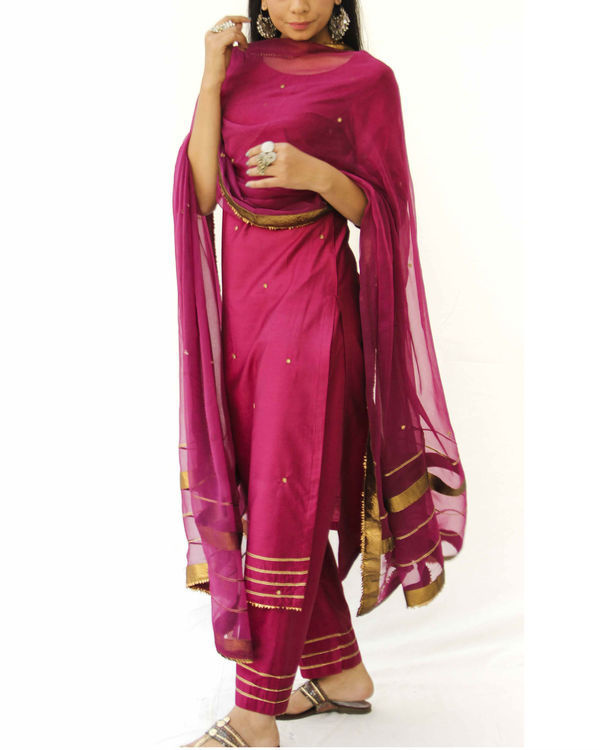 Wine straight kurta, pant and dupatta set 2
