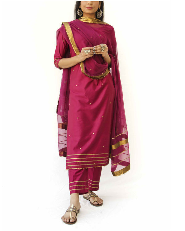 Wine straight kurta, pant and dupatta set 1