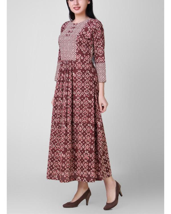 Rust dabu-printed cotton dress 3