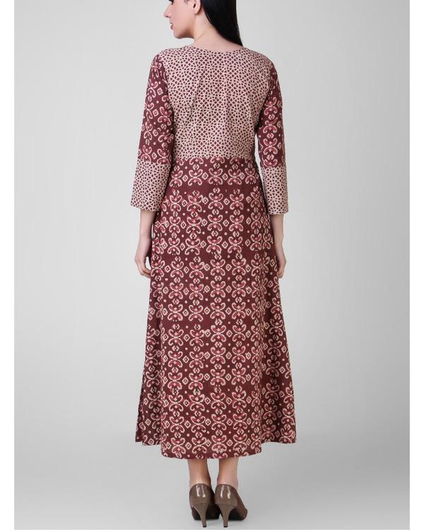 Rust dabu-printed cotton dress 2