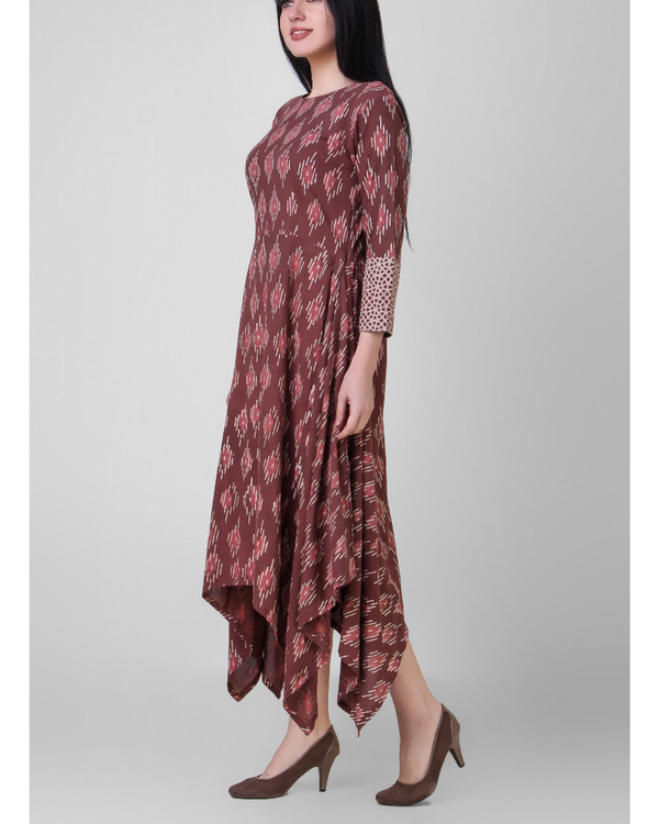 Rust dabu assymetrical dress 3