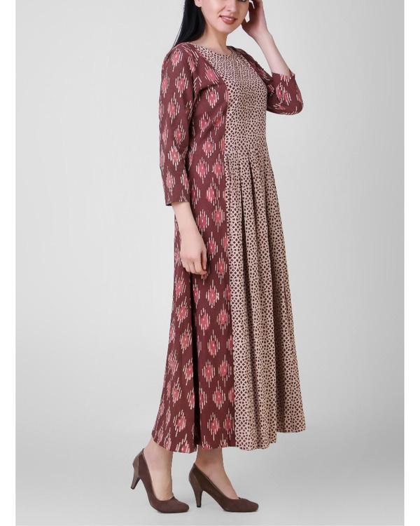 Box pleated rust dress 1