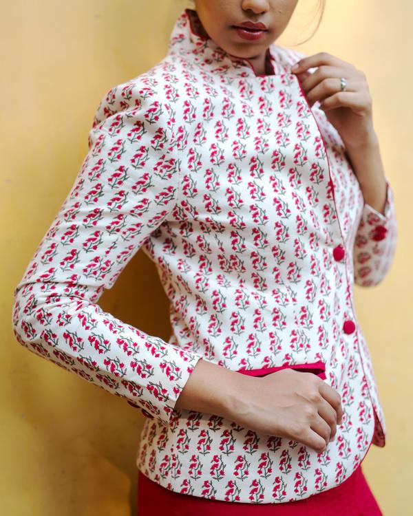 Block print floral blazer 1