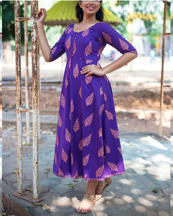 Purple gold boota dress 3