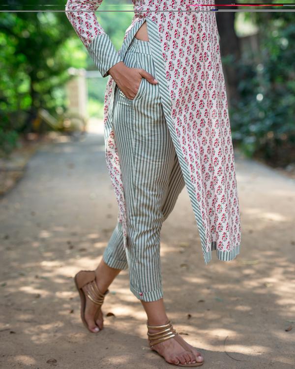 Block print olive stripes pants 1