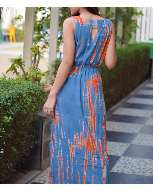 Orange blue long tie dye dress 1