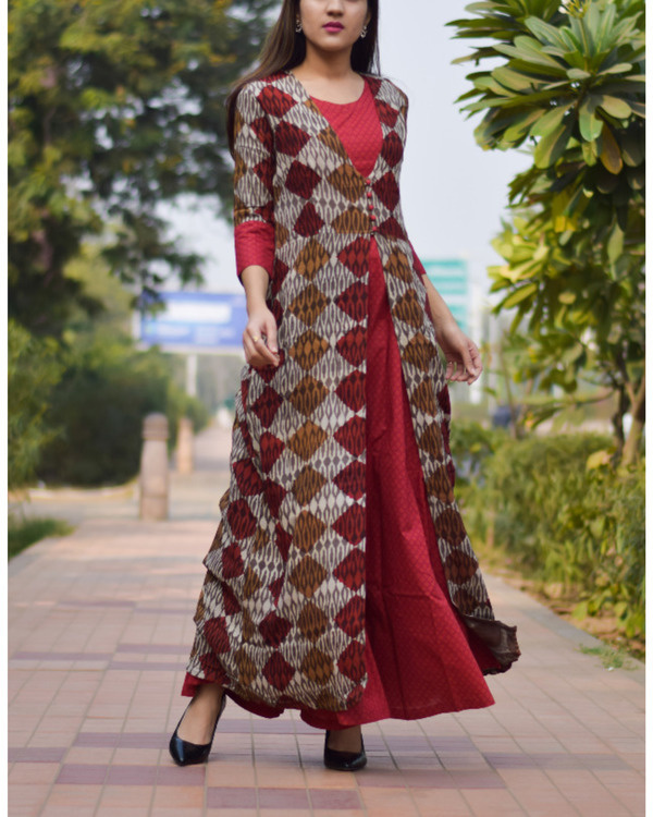 Block printed double layered dress 2