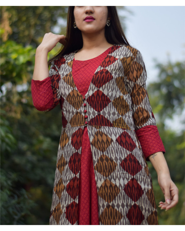 Block printed double layered dress 1