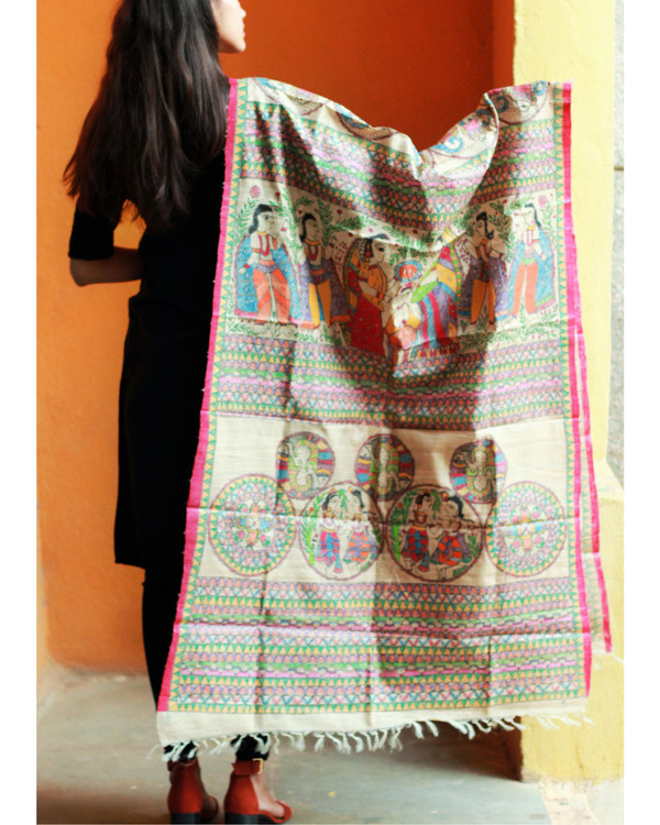 Madhubani All over multi colored tussar silk dupatta 2