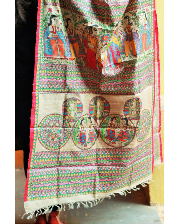 Madhubani All over multi colored tussar silk dupatta 1