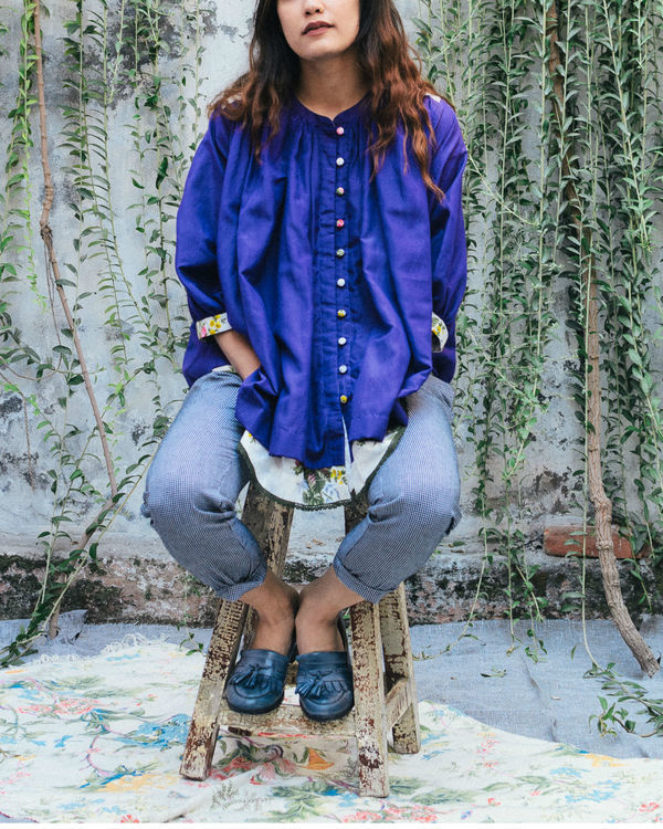Whimsical violet peasant top 3