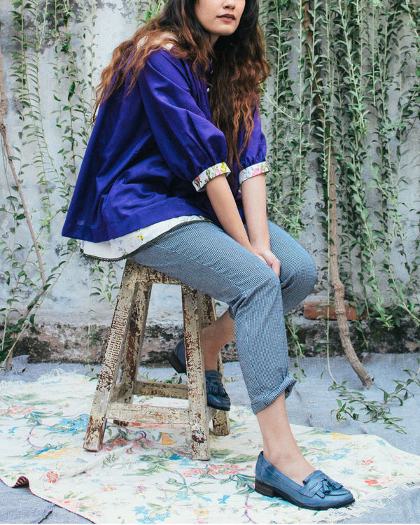Whimsical violet peasant top 2