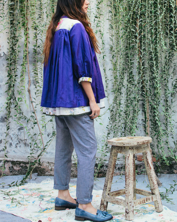 Whimsical violet peasant top 1