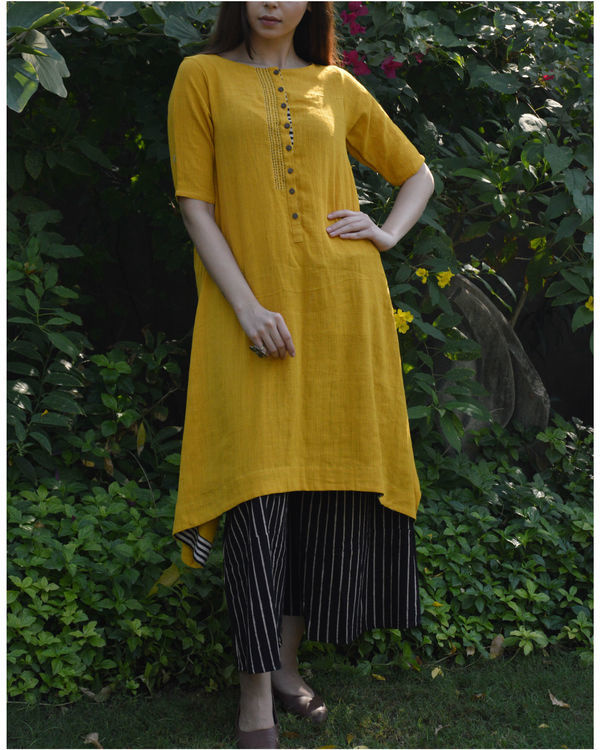 Mustard c-hem tunic with black striped palazzo 1