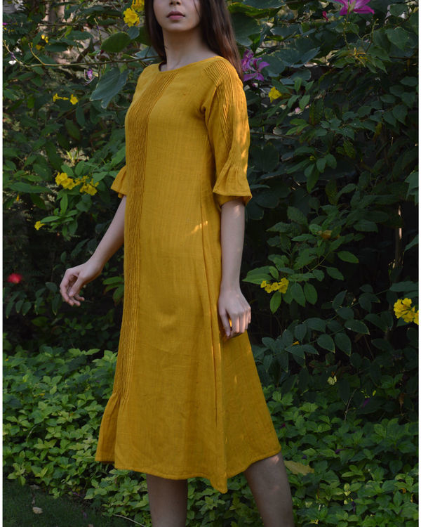 Mustard pin tucks tunic 2