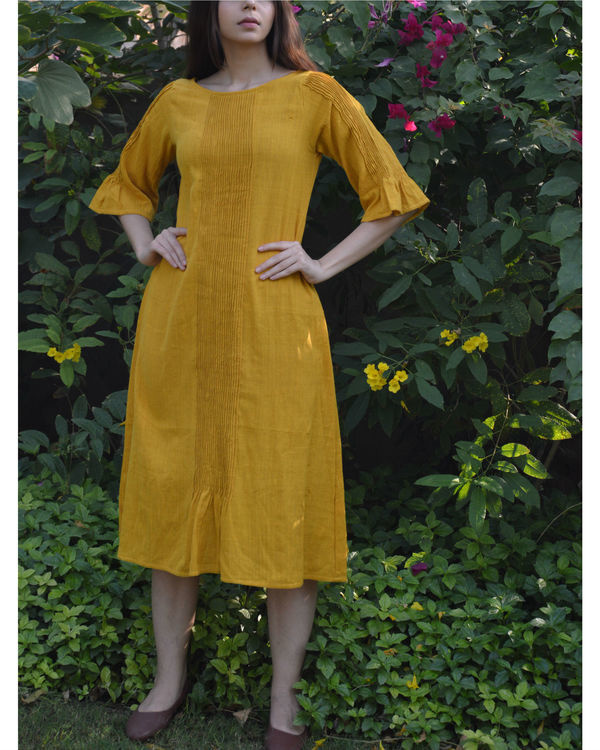 Mustard pin tucks tunic 1