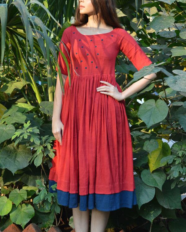 Red indigo layer frock with polka applique 3