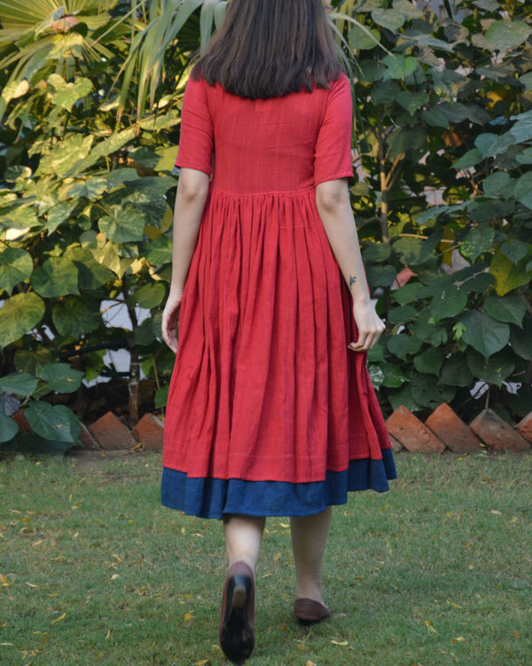 Red indigo layer frock with polka applique 2