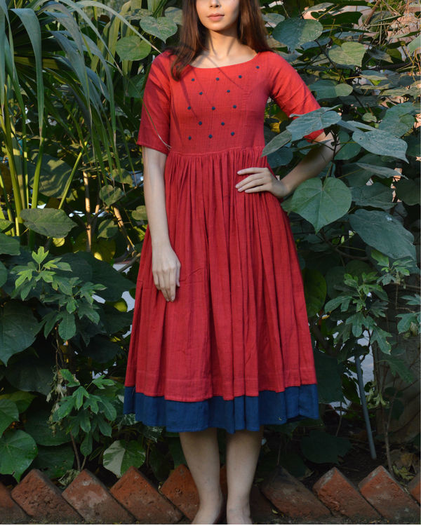 Red indigo layer frock with polka applique 1