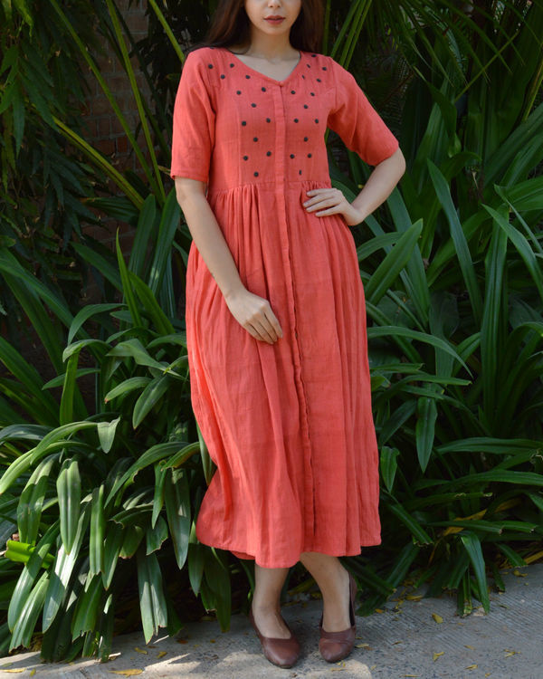 Peach v neck dress with grey polka applique 4