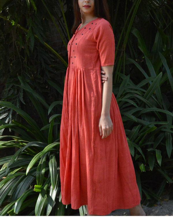 Peach v neck dress with grey polka applique 1