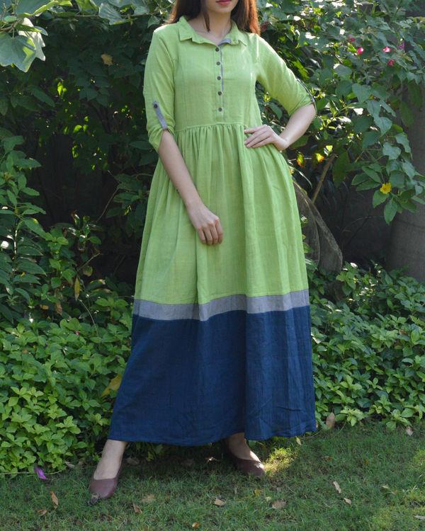 Green indigo grey color block gathered maxi dress 2