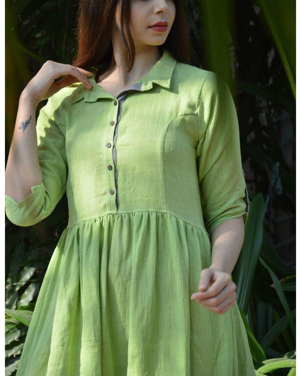 Green indigo grey color block gathered maxi dress 1
